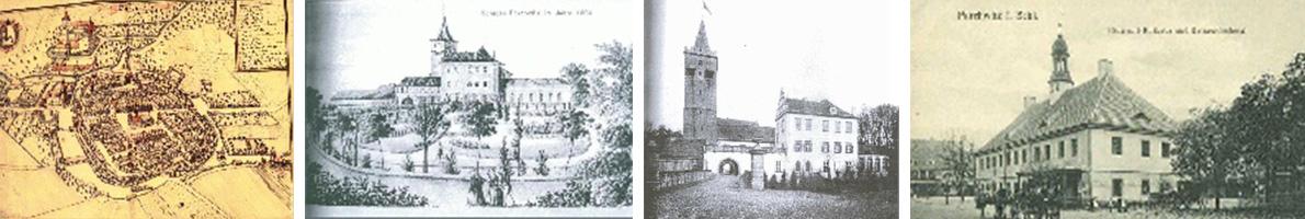 Zdjęcia prezentujące widok miasta Prochowice z różnych okresach historycznych