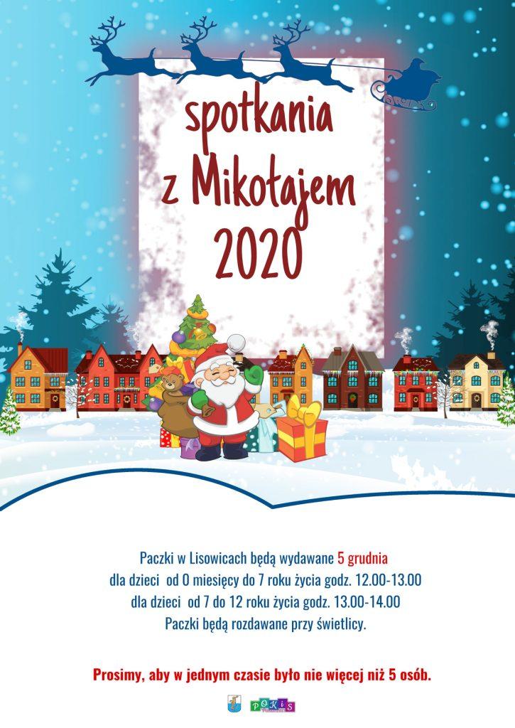 Plakat informujący o spotkaniu z Mikołajem w Lisowicach