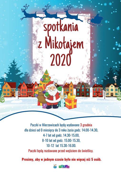 Plakat informujący o spotkaniu z Mikołajem w Mierzowicach