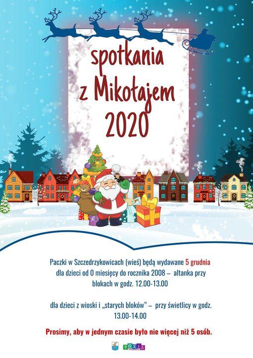 Plakat informujący o spotkaniu z Mikołajem w Szczedrzykowicach