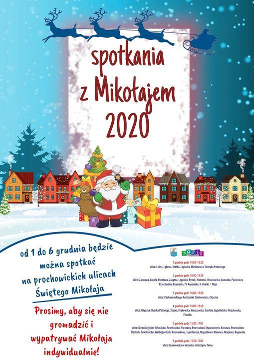 Plakat informujący o spotkaniach z Mikołajem w Prochowicach