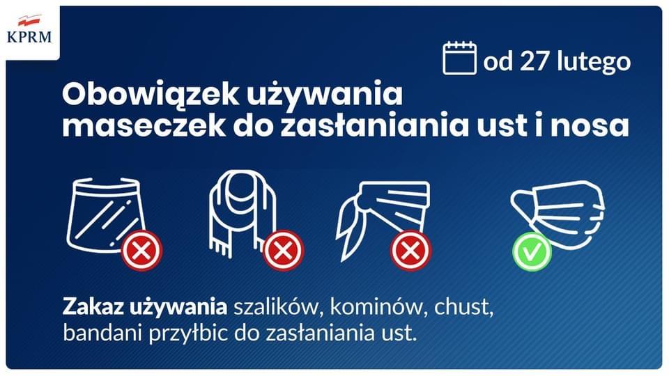 Od soboty 27 lutego wprowadzony zostaje obowiązek zakrywania ust i nosa wyłącznie przy użyciu maseczki.