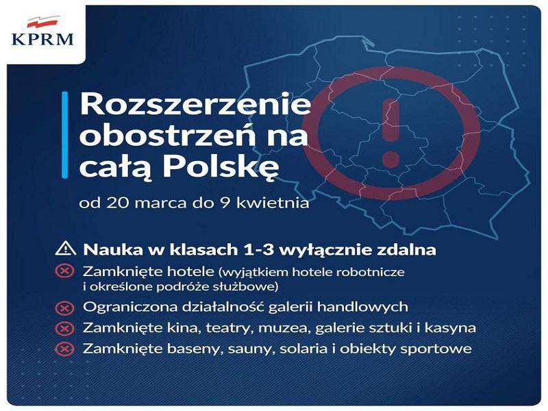 Rozszerzenie obostrzeń na całą Polskę