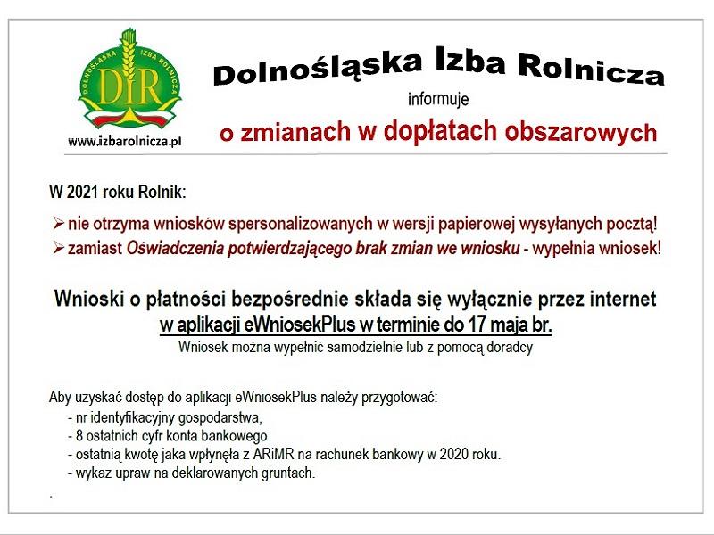 Komunikat Dolnośląskiej Izby Rolniczej do urzędów ws. dopłat bezpośrednich