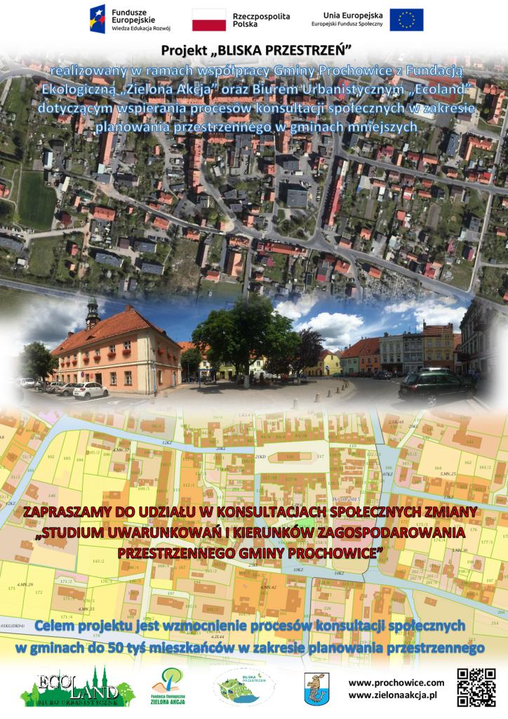 """Plakat informacyjny projektu """"Bliska Przestrzeń"""""""