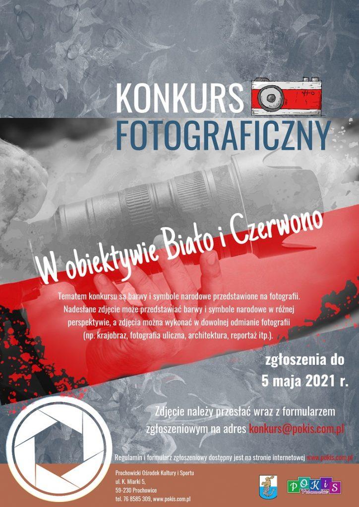 """Konkurs fotograficzny """"W obiektywie Biało i Czerwono"""" -plakat"""
