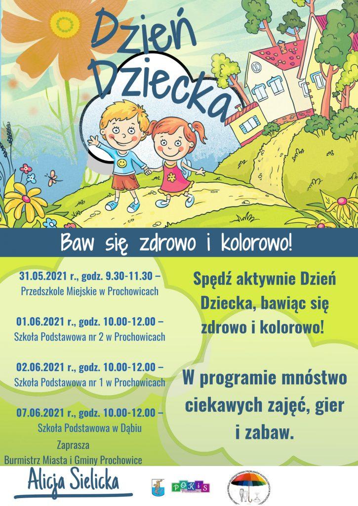 Dzień Dziecka w Gminie Prochowice - plakat informacyjny