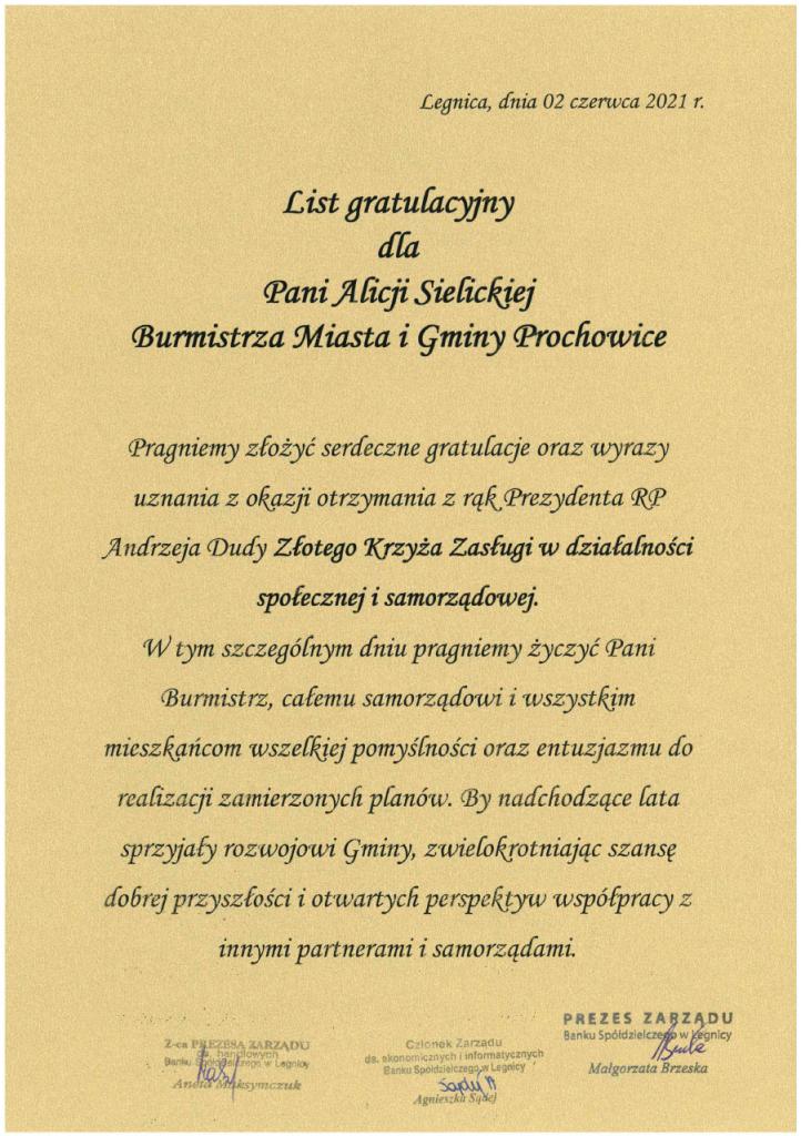 List gratulacyjny dla Pani Alicji Sielickiej