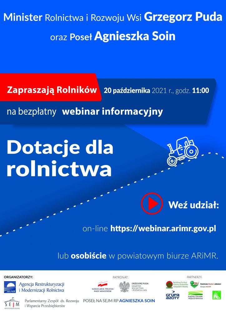 Zaproszenie do udziału w Webinarium dla rolnictwa w dniu 20.10.2021 - plakat